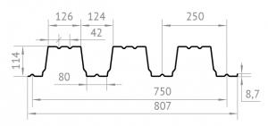 ОЦИНКОВАННЫЙ ПРОФНАСТИЛ Н-114  0.9мм