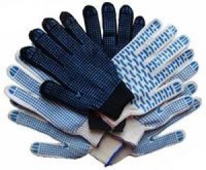 Перчатки 10 класс (6 нитей) черные с ПВХ пара