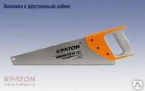 Ножовка 2-гр зуб обрезиненная ручка 450мм шаг 7мм 2 03 01 017, Кратон